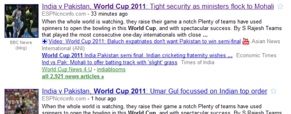 Google News Result: World Cup 2011