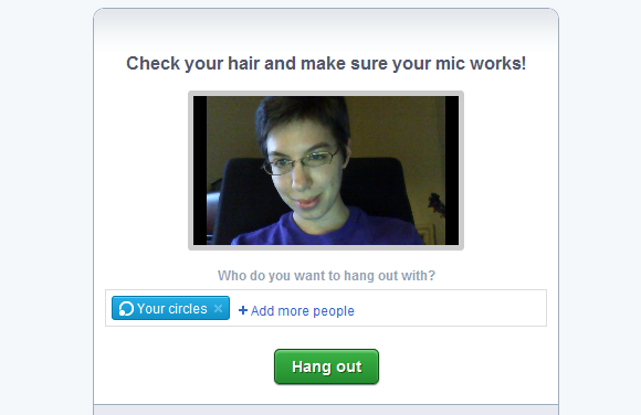 Google Plus Hangout Video Chat Screen