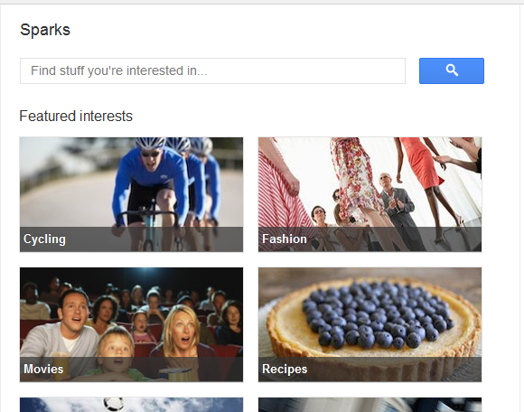 Google Plus Sparks Homepage