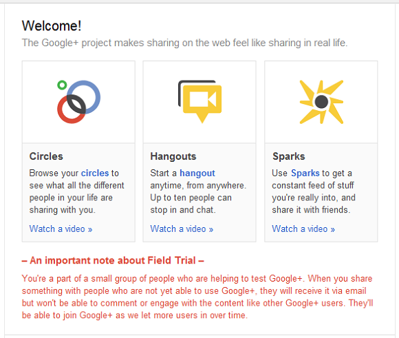 Google Plus Welcome Page