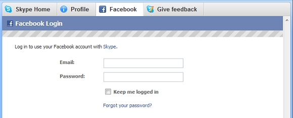 Login to Facebook on Skype