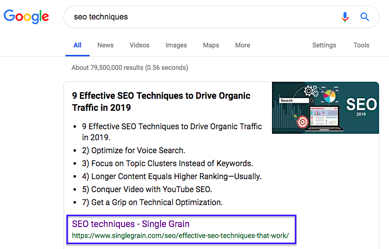 Single Grain SEO keyword in Google