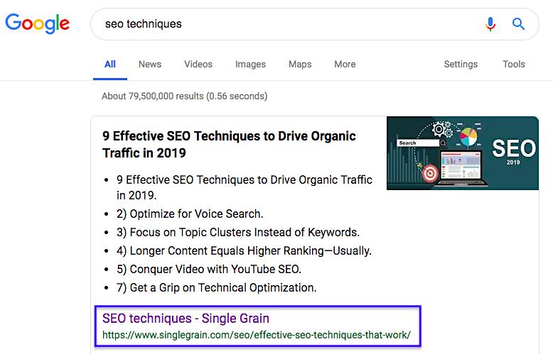 Single Grain SEO keyword in Google
