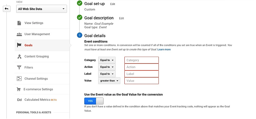 Google Analytics Goal set-up and description