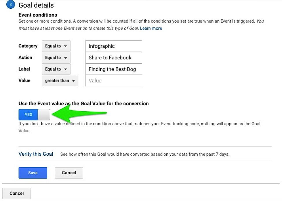 Google Analytics Event Value as Goal Value
