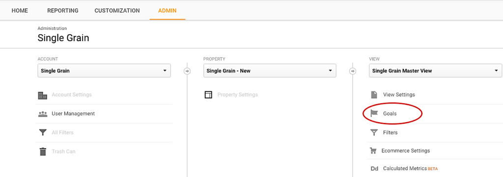Single Grain Google Analytics Goals
