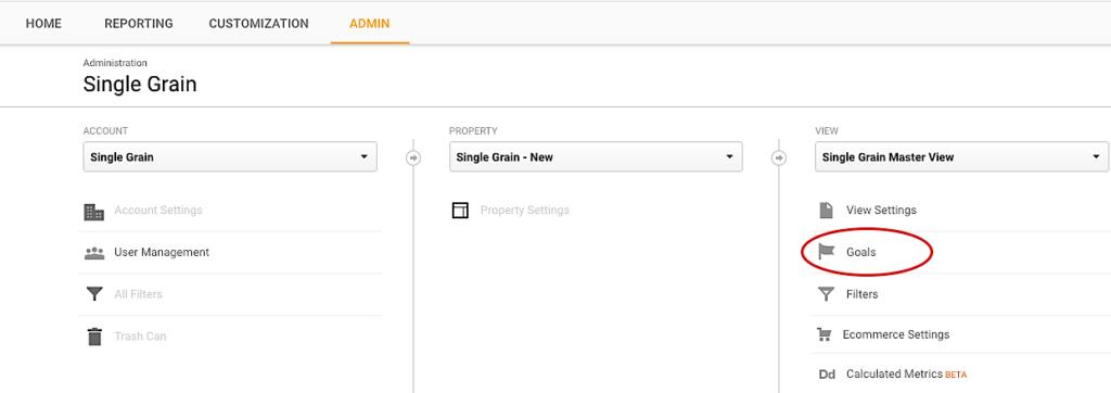Single Grain Google Analytics Goals