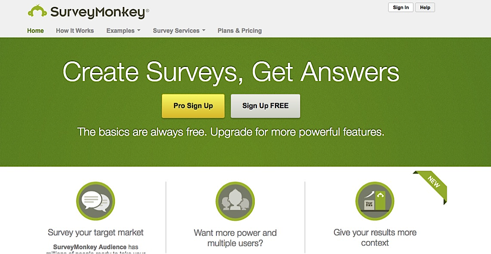 Collecting feedback Survey Monkey