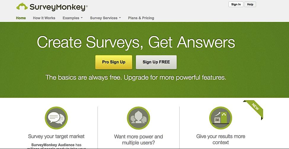 Collecting feedback Survey Monkey
