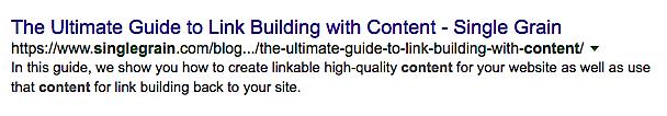 Meta description in search engine results