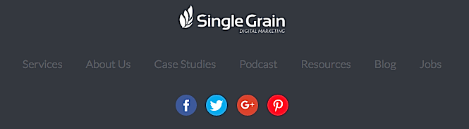 Single Grain social icons in footer