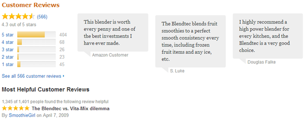 Blendtec Customer Reviews