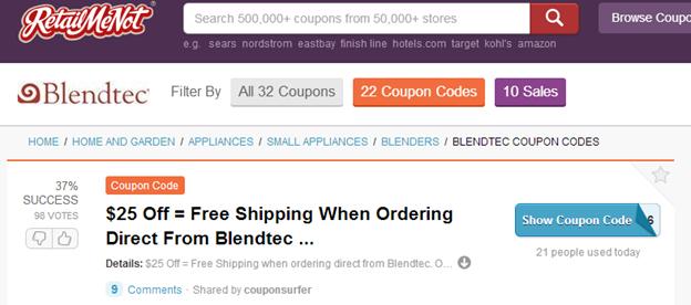 Blendtec RetailMeNot