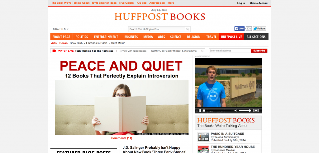 Huffpost Books Web Design