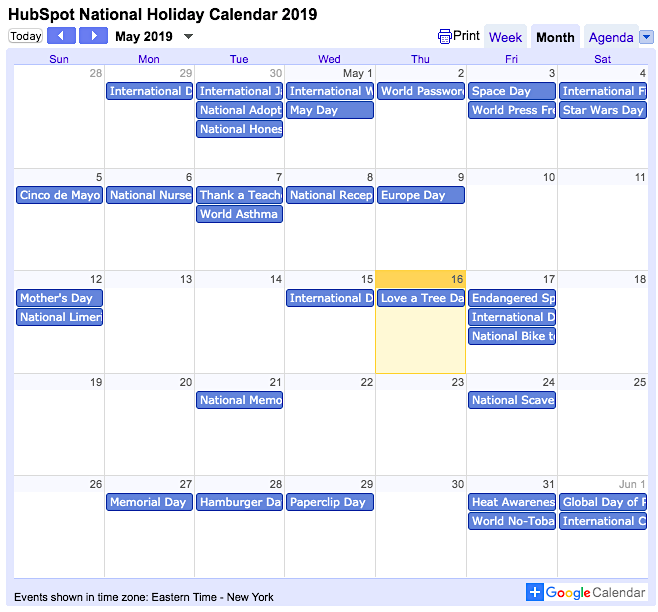 HubSpot National Holiday Calendar 2019