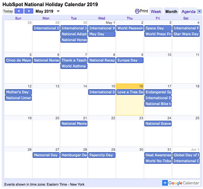 Calendario delle festività nazionali HubSpot 2019