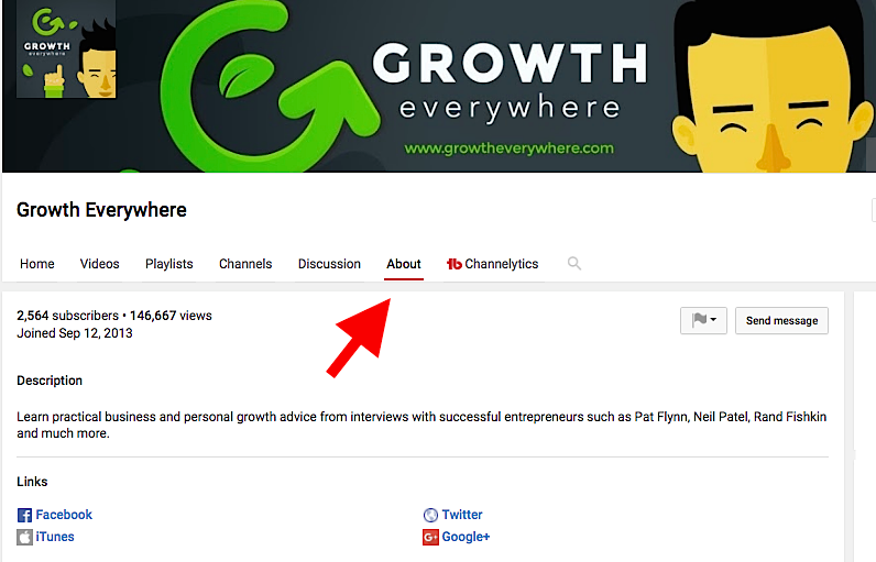 Growth Everywhere YouTube Channel About Page