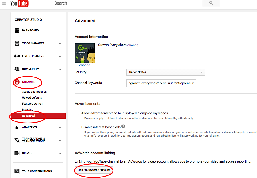 Linking Your AdWords Account to Your Channel