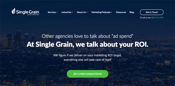 Single Grain Homepage Screenshot