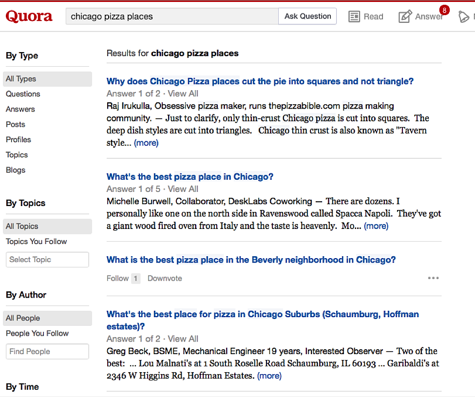 "search ""chicago pizza places"" into a site like Quora"