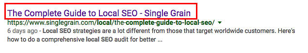 meta title in the SERPs