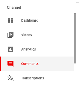 YT comments menu