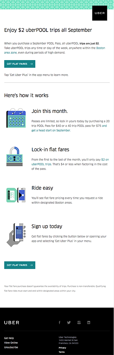 Screenshot of Uber Email Marketing Campaign