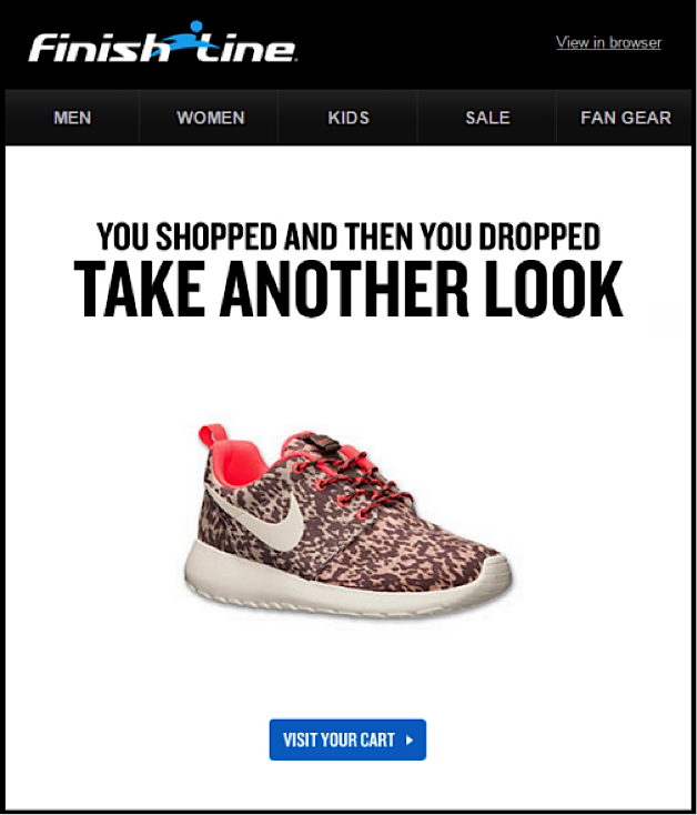 Screenshot of Finish Line Email Marketing Campaign
