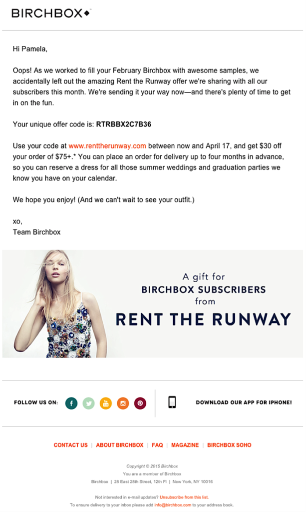Screenshot of BirchBox Email Marketing Campaign