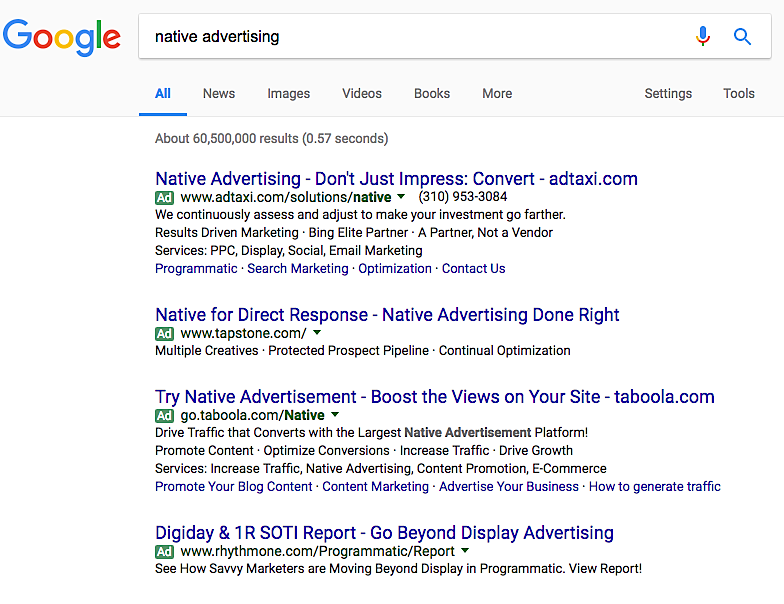 Native Advertising Google Search