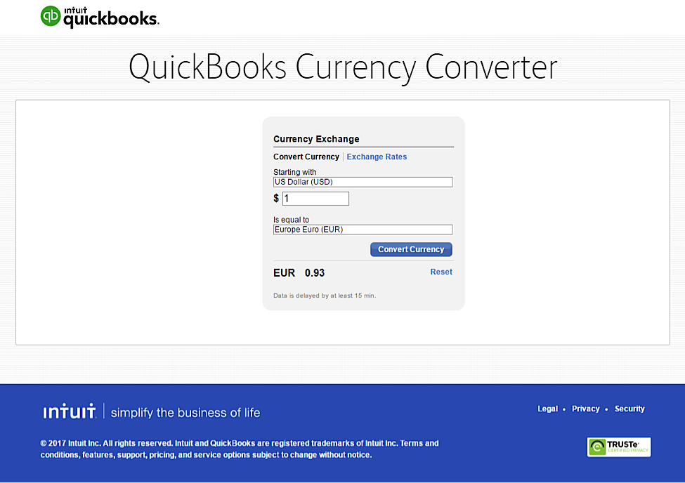 QuickBooks currency converter