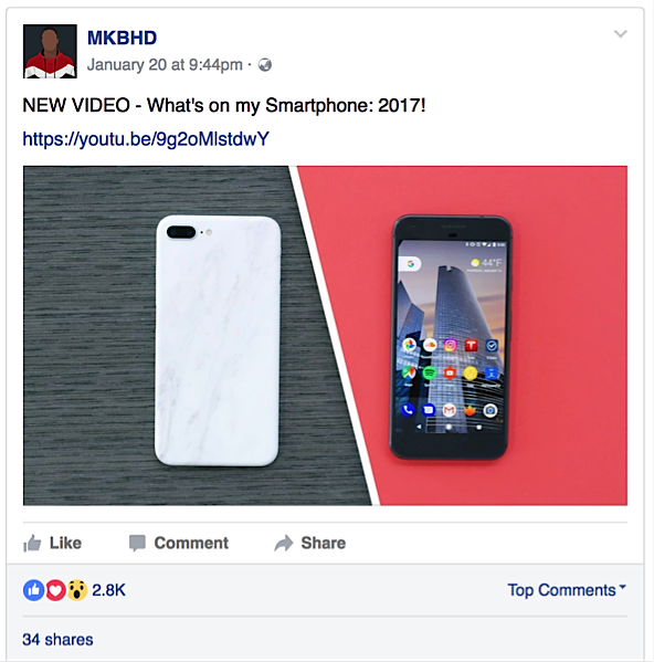 tech reviewer sharing video to Facebook