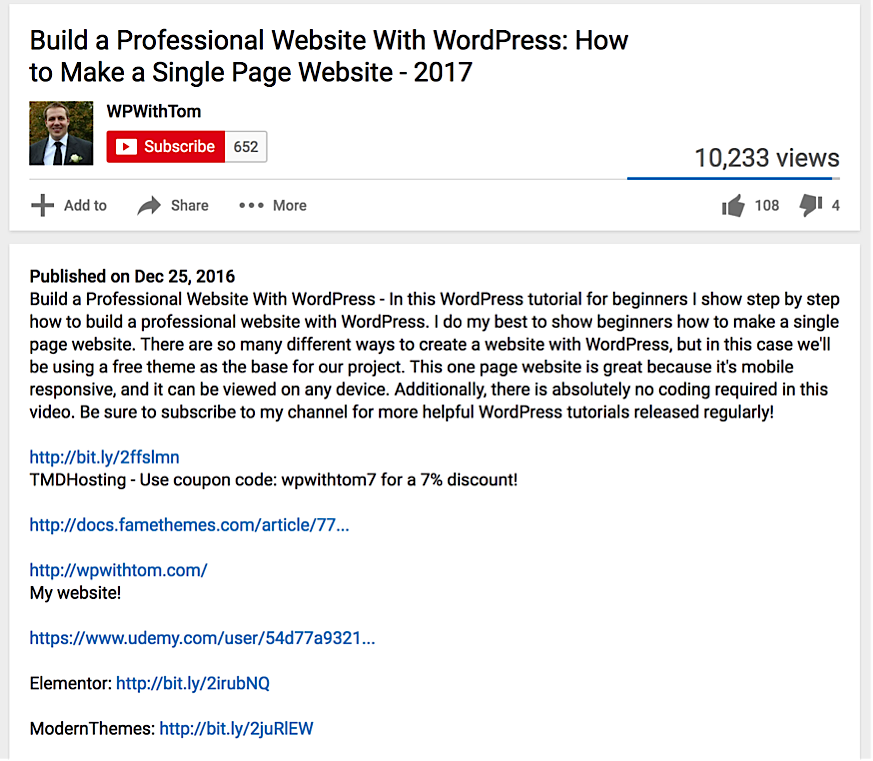example of a well-optimized video about WordPress