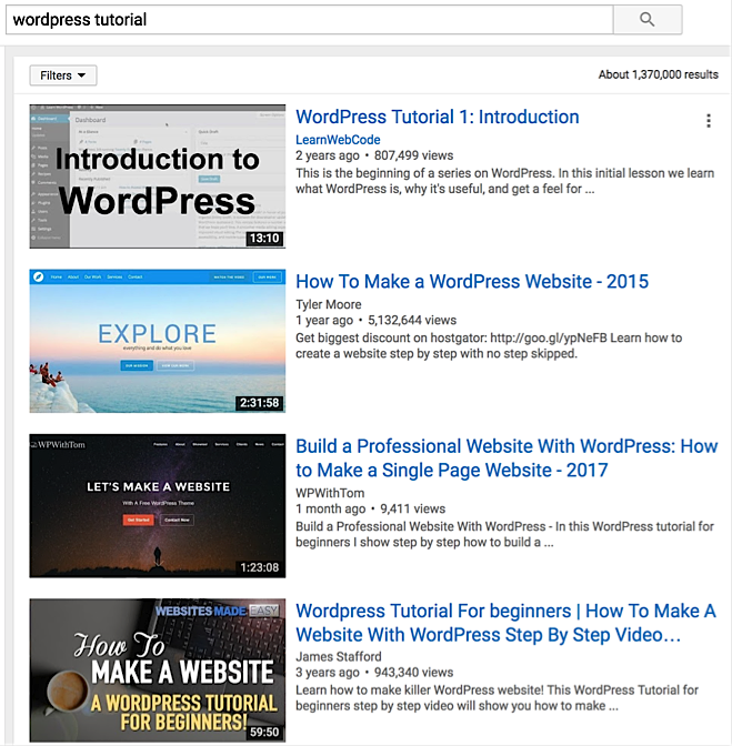 """searching for """"WordPress tutorial"""" on YouTube"""