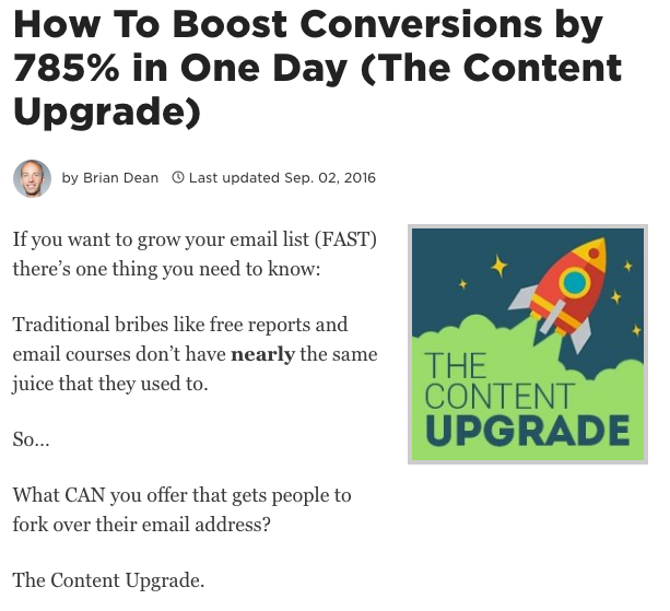 Content Upgrade Brian Dean Backlinko