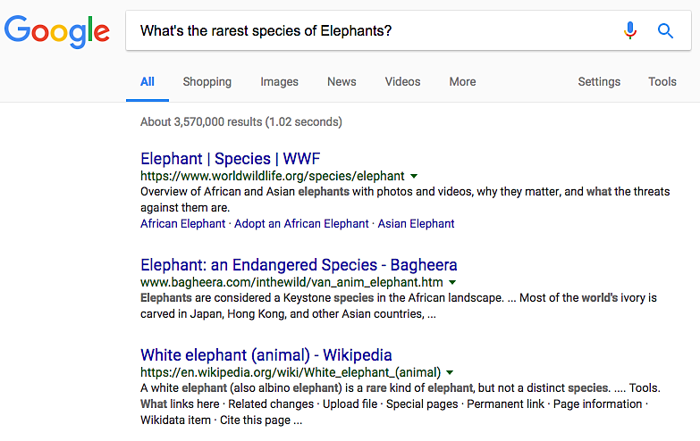 Google search rare elephants