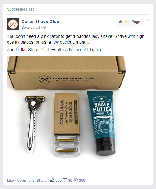 dollarshaveclub targeting women