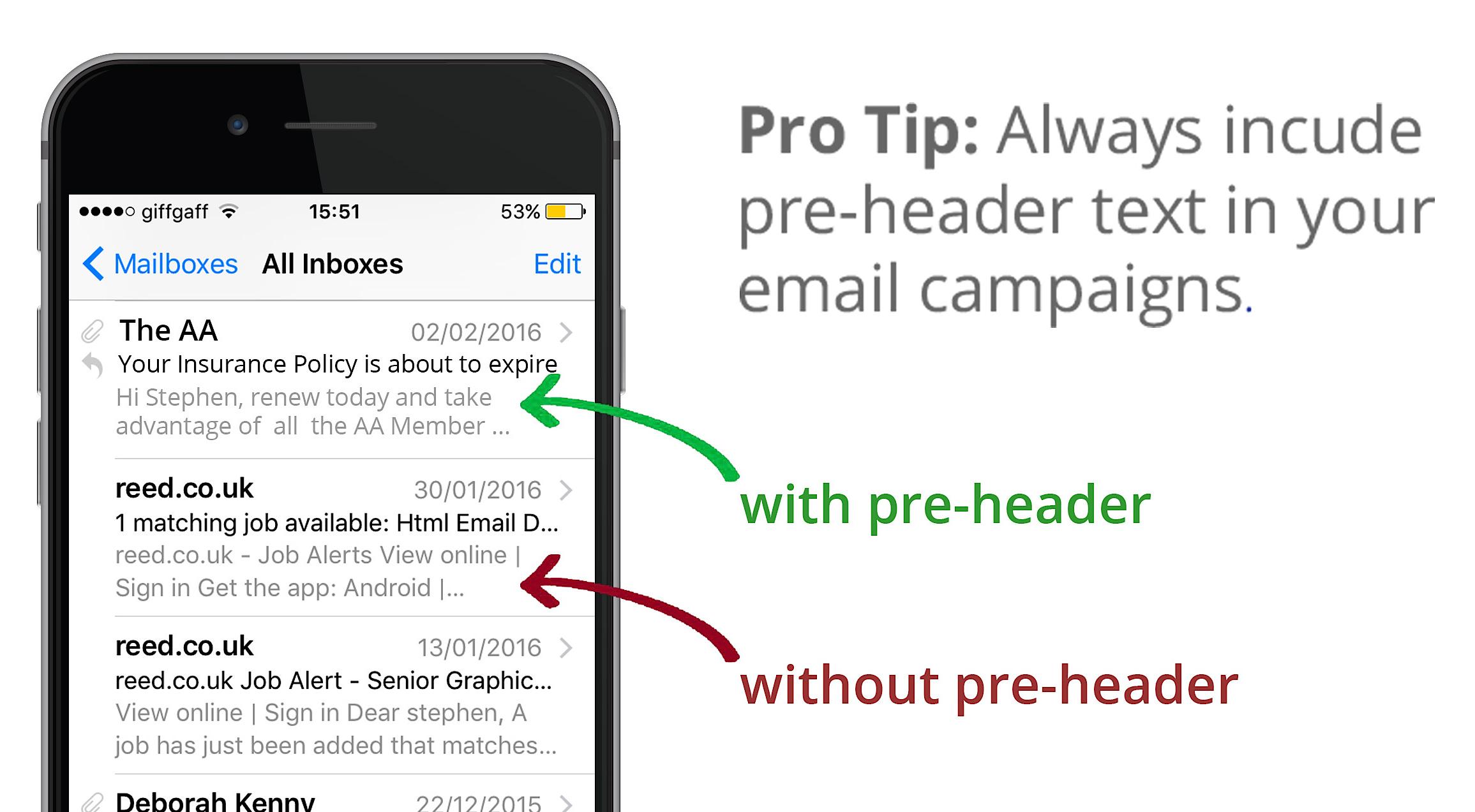 pre-header mobile email