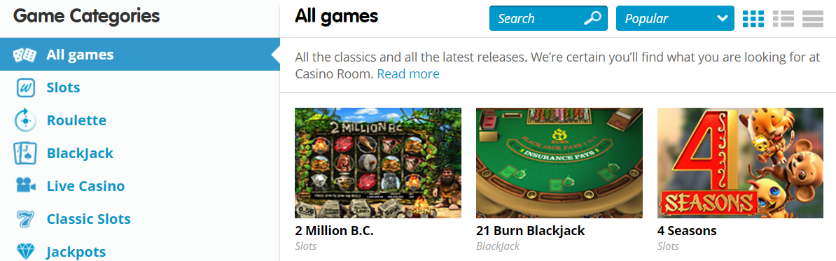 CasinoRoom 1 Above The Fold Screenshot