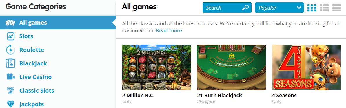 CasinoRoom 1 Above The Fold Screenshot
