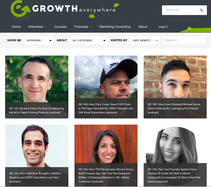 Growth Everywhere interviews