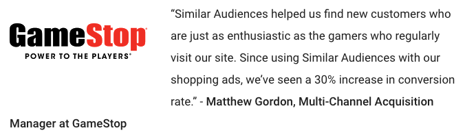 GameStop Google Similar Audiences