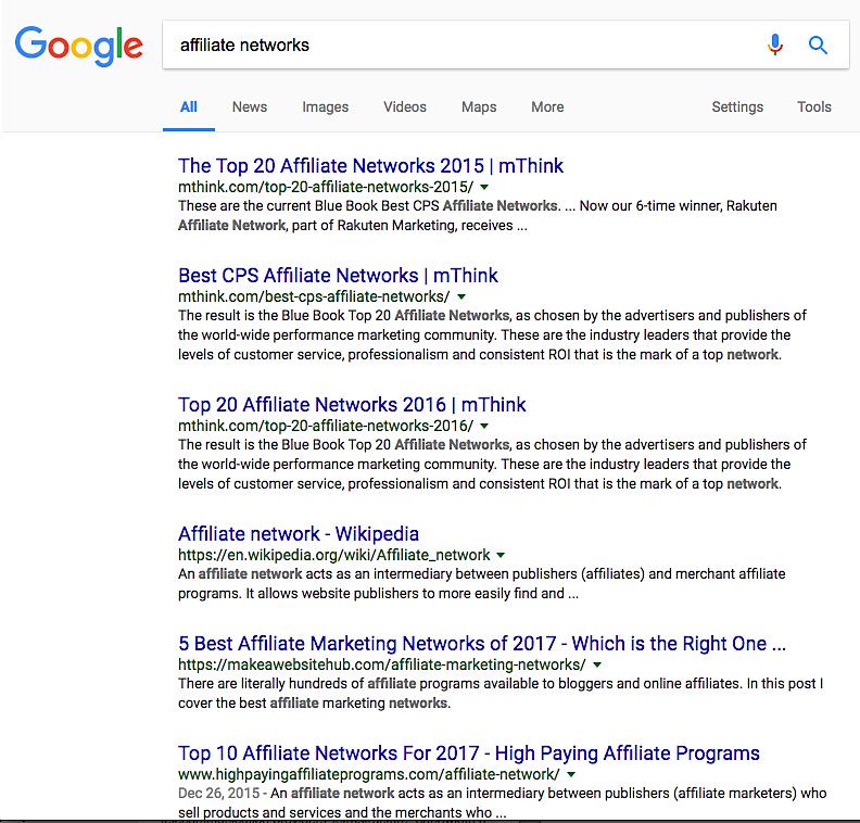 Google affiliate networks