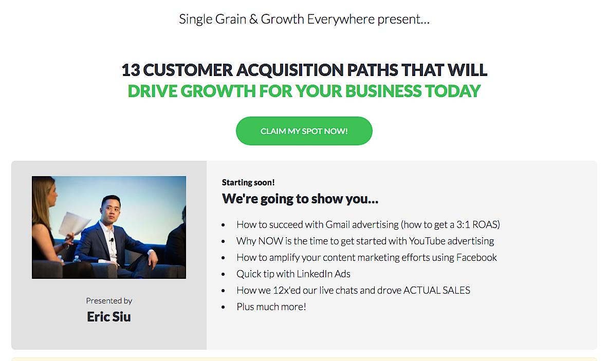 Single Grain 13 CUSTOMER ACQUISITION PATHS webinar