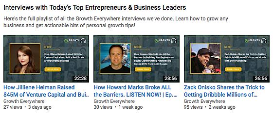 Growth Everywhere YouTube thumbnails