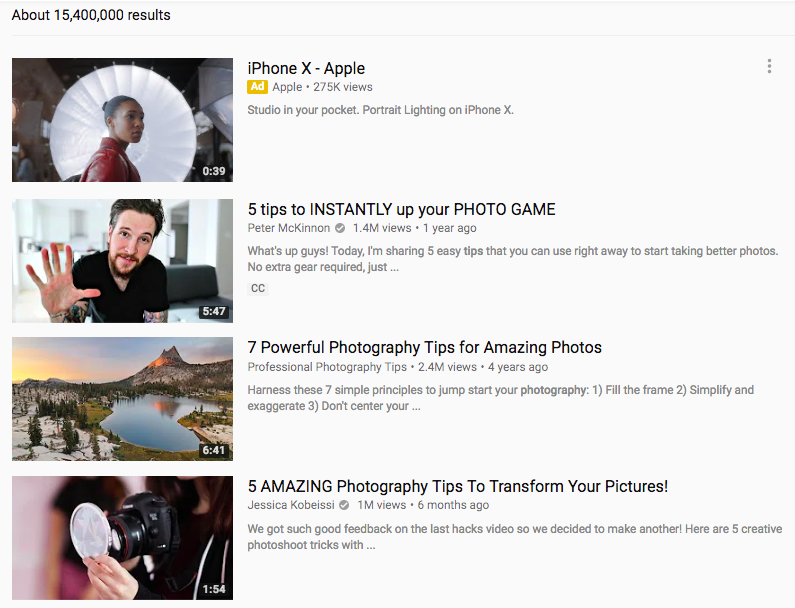 Photography videos on YouTube