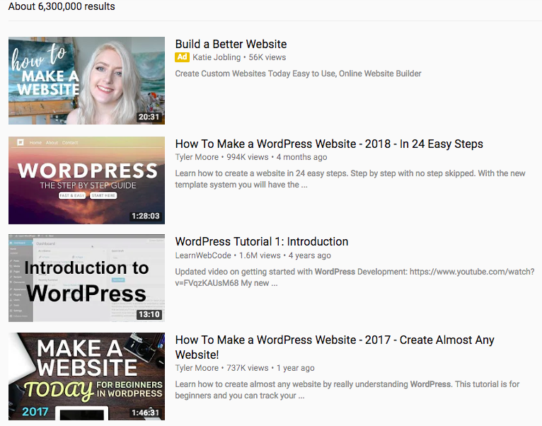 WordPress videos on YouTube