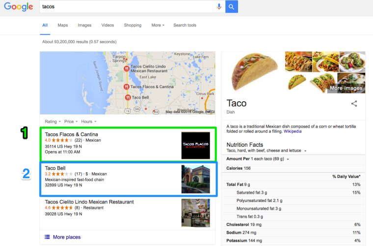 Google Local Results Tacos Search Query 760x503