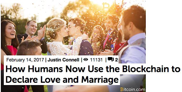Blockchain to declare love and marriage