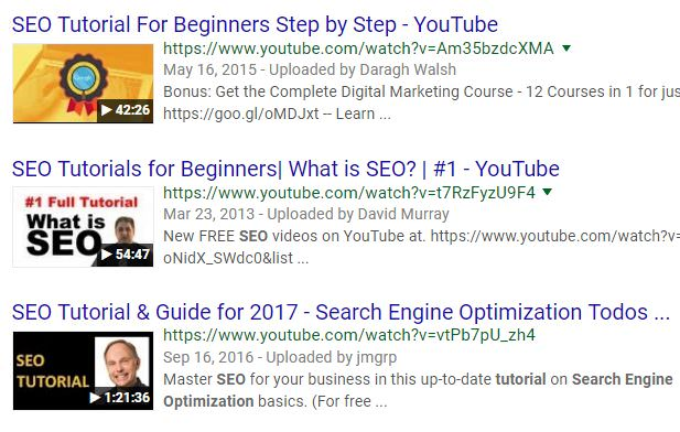 SEO Tutorial on YouTube
